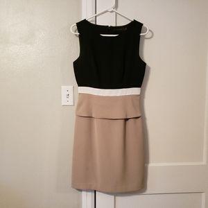 Black, tan & white sleeveless dress